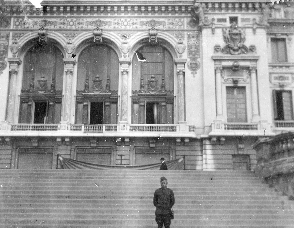 Charles Gerber poses in front of the Casino at Monte Carlo.