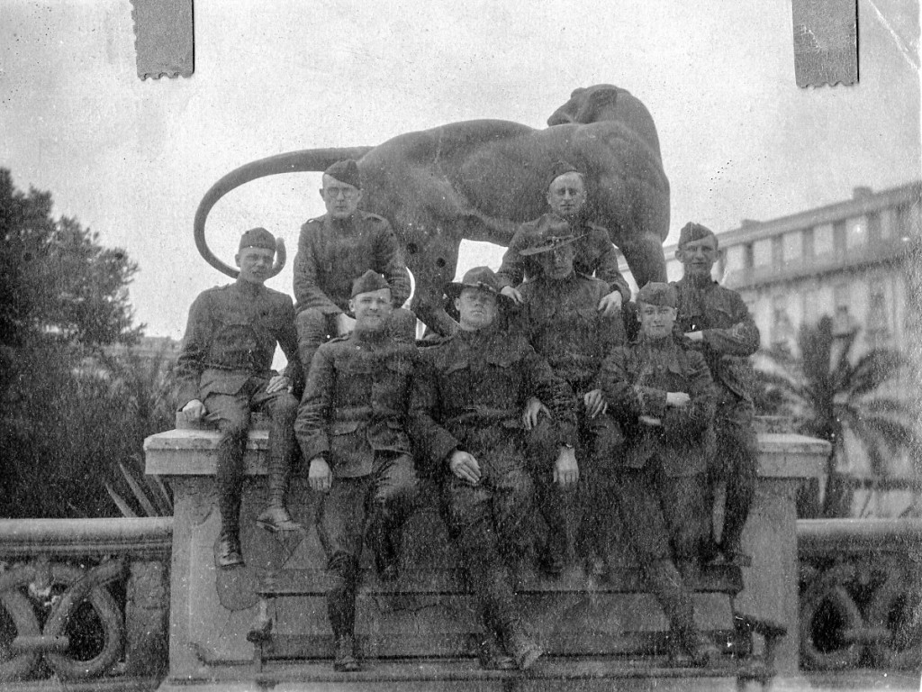 Members of Charles Gerber's company pose for a photograph in a public park in Nice, France.