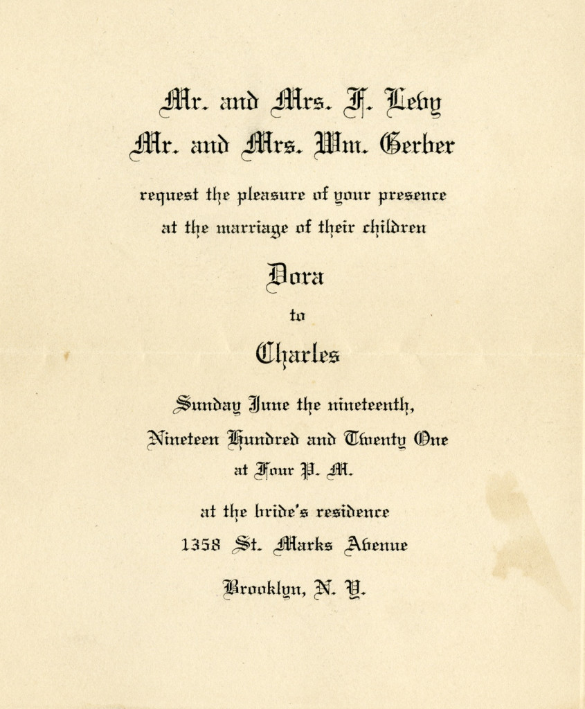 Charles Gerber and Dora Levy Wedding Invitation