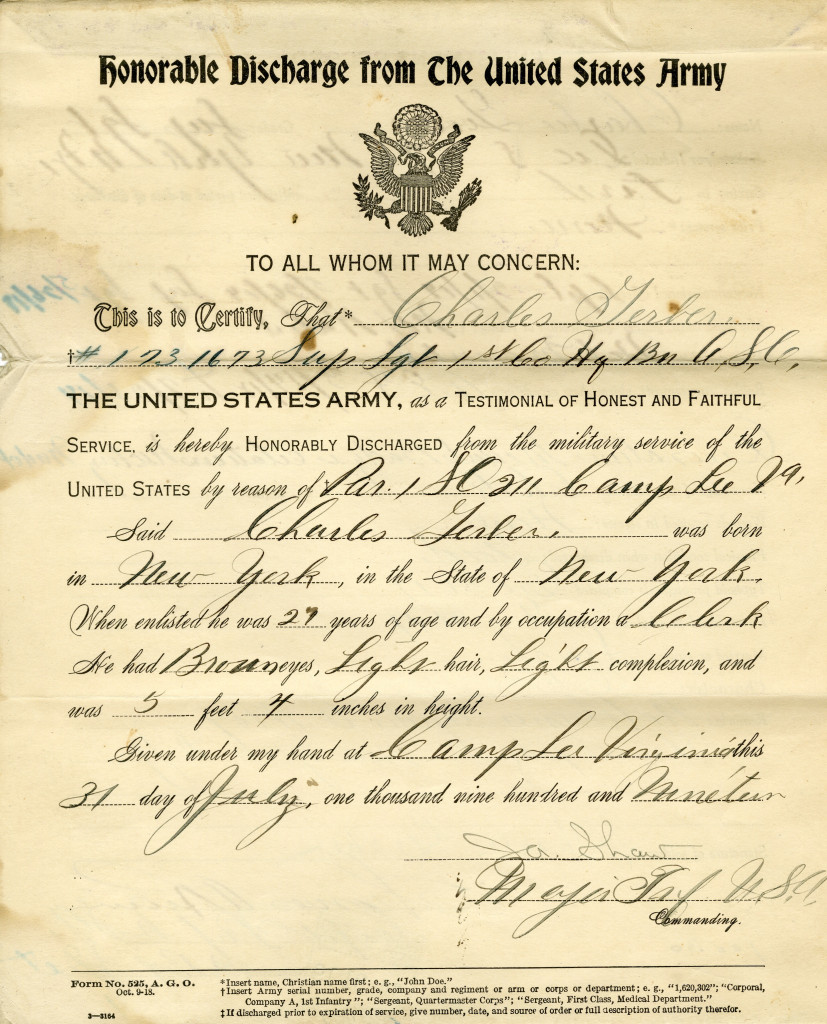 Charles Gerber's World War I Honorable Discharge, side 1.