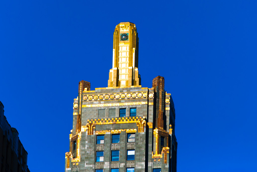 The top of the Carbide and Carbon Buidling