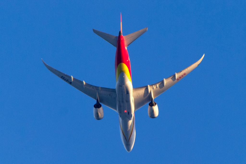 A Hainan AIrlines flys its downwind leg on approach to O'Hare Airport.