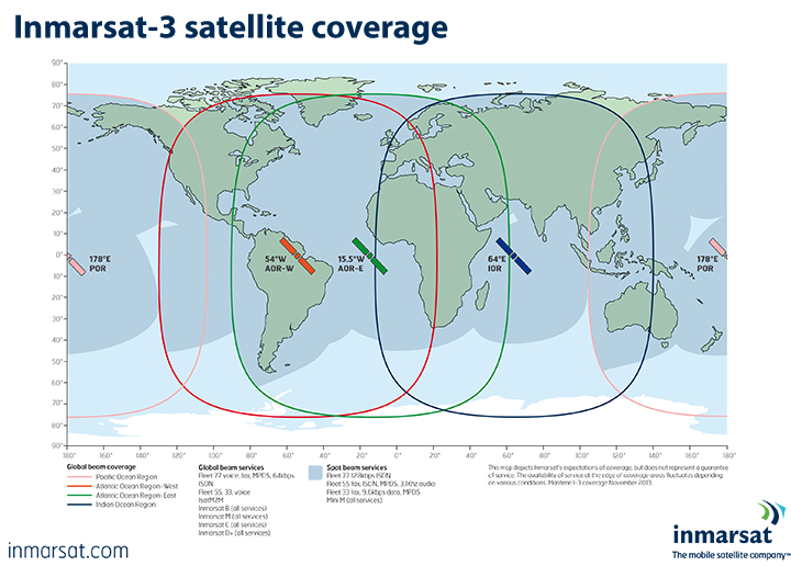 Coverage of the Inmarsat-3 satellite network. Image source, courtesy Inmarsat.