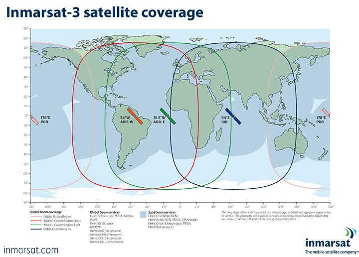 Coverage of the Inmarsat-3 satellite network. Image source, courtesy Inmarsat.